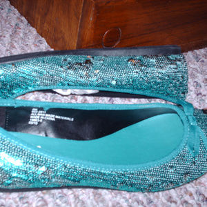 New Sz 8 Women's Blue Sequined Arizona Brand Shoes
